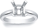 This image shows the setting with a basket made to hold a 1.50ct princess cut center diamond. The setting can be ordered to accommodate any shape/size diamond listed in the setting details section below.