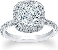 Thin Micro-pave Halo Diamond Engagement Ring