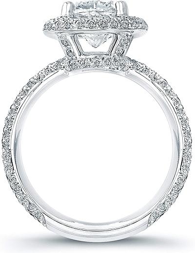 Thin Micro Pave Halo Diamond Engagement Ring AD4600