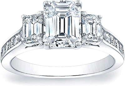 This image shows the setting with a 1.50ct emerald cut center diamond. The  setting