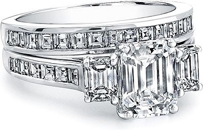Three Stone Emerald Cut Engagement Ring w Square Emerald Channel