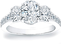 Three Stone Oval Diamond Engagement Ring w/ Pave Accents