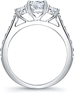 This image shows the setting with a 1.25ct oval center diamond. The setting can be ordered to accommodate any shape/size diamond listed in the setting details section below.