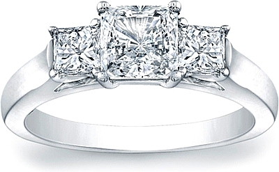 this image shows the setting with a 100ct princess cut center diamond the setting - Princess Cut Diamond Wedding Rings