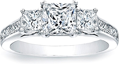 this image shows the setting with a 125ct princess cut center diamond the setting - Princes Cut Wedding Rings