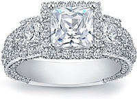 Three Stone Princess Cut Pave Diamond Setting