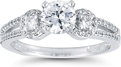 this image shows the setting with a 100ct round brilliant cut center diamond the - Three Stone Wedding Rings