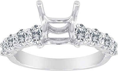 This image shows the setting with a basket made for 1.00ct princess cut diamond. The setting can be ordered to accommodate any size/shape diamond listed on the setting details section below.