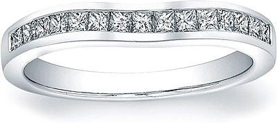 Vatche Channel Set Princess Cut Contoured Wedding Band 210