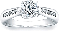 Vatche Channel-Set X Prong Tapered Diamond Engagement Ring