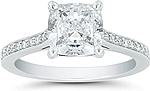 This image shows the setting with a 1.25ct cushion cut center diamond. The setting can be ordered to accommodate any shape/size diamond listed in the setting details section below.