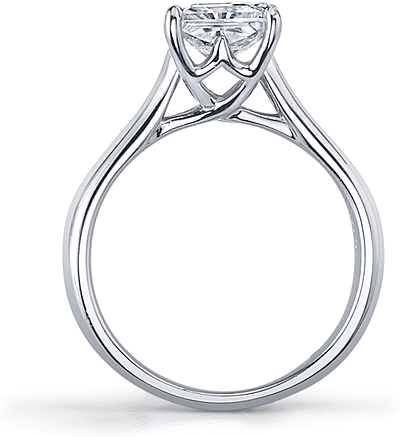 fbc0aa30a65cb5 This image shows the setting with a 1.00ct princess cut center diamond. The  setting can be ordered to accommodate any shape/size diamond listed in the  ...