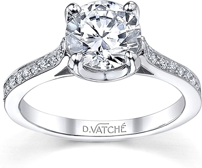 this image shows the setting with a 100ct round brilliant cut center diamond the - Wedding Ring Setting