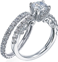 Verragio Detailed Engagement Ring with Round Brilliant Diamonds
