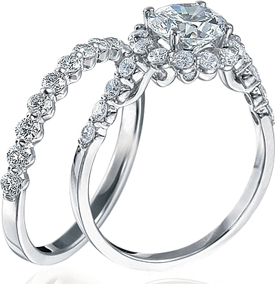 this image shows the setting with a 125ct round brilliant cut center diamond the - Verragio Wedding Rings