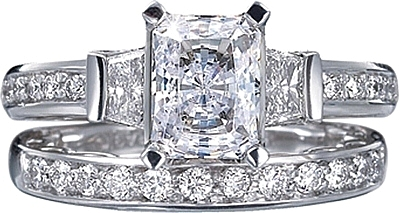 This image shows the setting with a 1.25ct radiant cut center diamond. The  setting