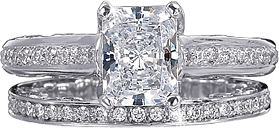This image shows the setting with a 1.25ct radiant cut center diamond. The setting can be ordered to accommodate any shape/size diamond listed in the setting details section below. The matching wedding band is sold separately.
