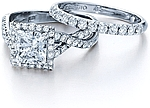 This image shows the setting with a 1.25ct princess cut center diamond. The setting can be ordered to accommodate any shape/size diamond listed in the setting details section below. The matching wedding band is sold separately.