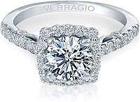 Verragio Round Diamond Engagement Ring with Diamond Halo