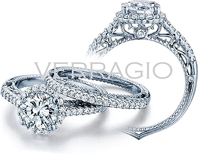 This image shows the setting with a 1ct round brilliant cut center diamond. The setting can be ordered to accommodate any shape/size diamond listed in the setting details section below. The matching wedding band is sold separately.