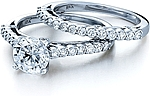 This image shows the setting with a 1.25ct round brilliant cut center diamond. The setting can be ordered to accomodate any shape/size diamond listed in the setting details section below. The matching wedding band is sold separately.