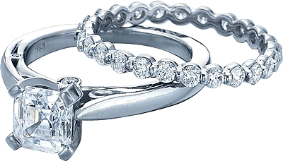 This image shows the setting with a 1ct princess cut center diamond. The setting can be ordered to accommodate any shape/size diamond listed in the setting details section below. The matching wedding band is sold separately.
