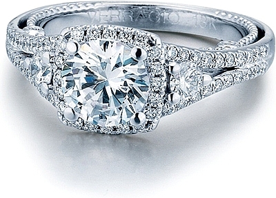 this image shows the setting with a 100ct round brilliant cut center diamond the - Verragio Wedding Rings
