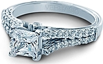 This image shows the setting with a .80ct princess cut center diamond. The setting can be ordered to accommodate any shape/size diamond listed in the setting details section below.