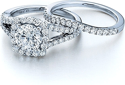 Verragio Split Shank Engagement Ring with Diamond Halo INS7046