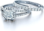 This image shows the setting with a 1.25ct asscher cut center diamond. The setting can be ordered to accommodate any shape/size diamond listed in the setting details section below. The matching wedding band is sold separately.