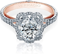Verragio Split Shank Pave Halo Diamond Engagement Ring