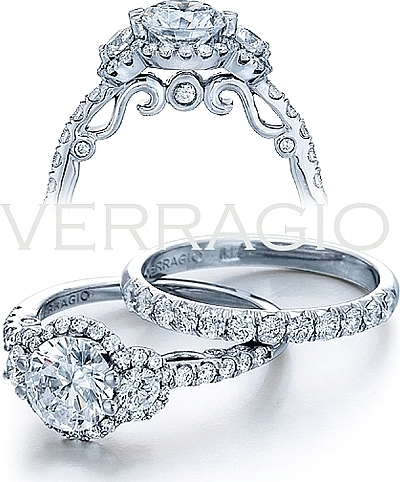 this image shows the setting with a 1ct round brilliant cut center diamond the setting - Three Stone Wedding Rings