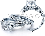 This image shows the setting with a 1ct round cut center diamond. The setting can be ordered to accommodate any shape/size diamond listed in the setting details section below.