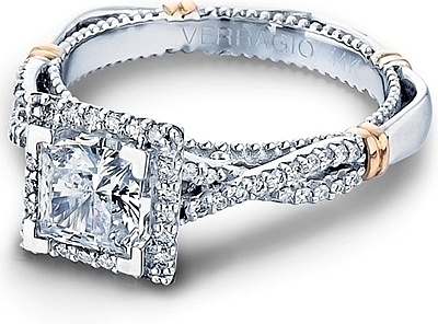 Verragio Twist Shank Diamond Engagement Ring. (0 Reviews) Write A Review.  This image shows the setting with a 1.00ct princess cut center diamond.