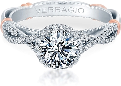 This image shows the setting with a 1.00ct round brilliant cut center  diamond. The