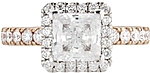This image shows the setting with a 1.00ct princess cut center diamond. The setting can be ordered to accommodate any shape/size diamond listed in the setting details section below.
