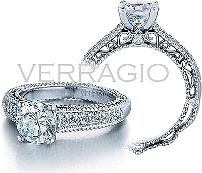 this image shows the setting with a 125ct round brilliant cut center diamond the - Double Band Wedding Ring