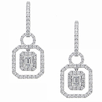 2.16ct emerald cut and round diamond earrings