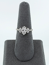 1.00ct F/SI1 Marquise Cut three Stone Diamond Engagement Ring