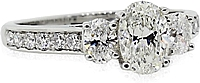 1.00ct GIA G/SI1 Three Stone Oval Cut Diamond Engagement Ring