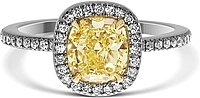 1.07ct Cushion Cut GIA Fancy Yellow Diamond Engagement Ring
