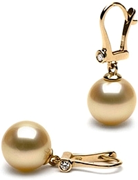 11.0-12.0mm AAA Golden South Sea Pearl & Diamond Earrings