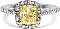 1.22ct Cushion Cut GIA Fancy Yellow Diamond Engagement Ring
