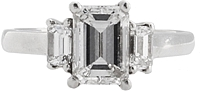 1.26ct GIA E/SI1 Emerald Cut Three Stone Diamond Engagement Ring