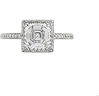 1.27ct GIA E/VS1 Asscher Cut Halo Diamond Engagement Ring