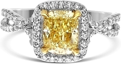 1.42ct Cushion Cut GIA Fancy Light Yellow Diamond Engagement Ring YDCR5329 037ee1c7a
