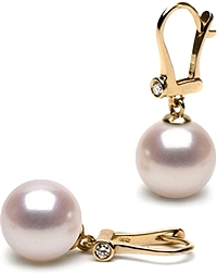 14k Gold 8.0-8.5mm Akoya Pearl & Diamond Earrings