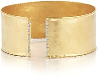 14K Gold Textured Diamond Cuff .26ctw