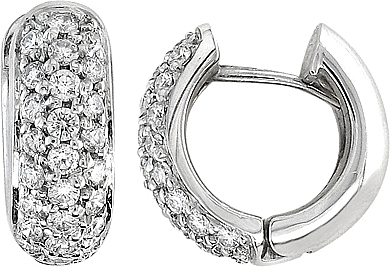 14k White Gold 1 Ct Diamond Pave Huggie Earrings 0 Reviews Write A Review View Photos