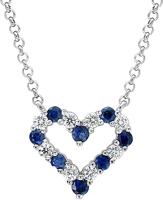 14k white gold 170ct diamond sapphire heart pendant adp2001 aloadofball Images
